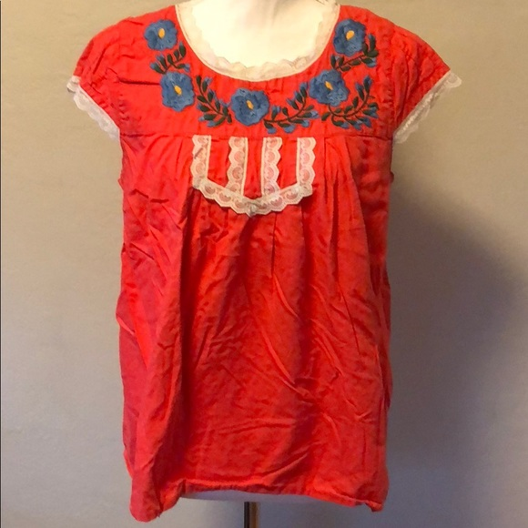 Tracy Feith Tops - Bright Mexican-inspired Peasant Top
